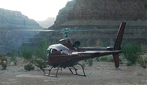 Helicopter landed in Grand Canyon
