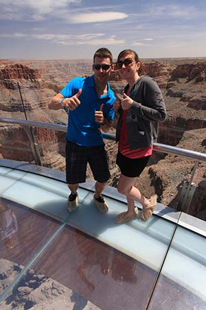 Standing in the middle of Grand Canyon Skywalk