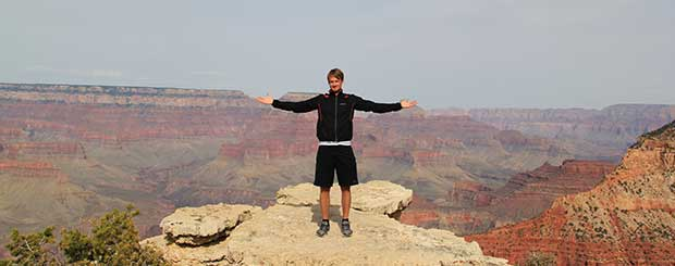 A man enjoying a Grand Canyon south rim tour.
